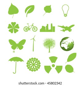 Set of ecology icons for web in green color