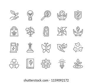 Set of Ecology outline icons isolated on white background. Editable Stroke. 64x64 Pixel Perfect.
