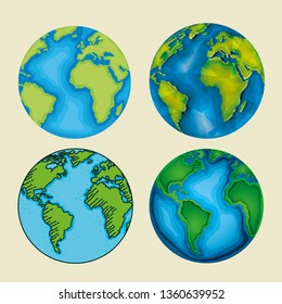 set ecology planet with nature conservation
