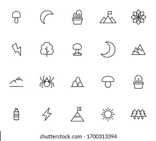 Set of ecology related vector line icons. Premium linear symbols pack. Vector illustration isolated on a white background. Web symbols for web sites and mobile app. Trendy design.