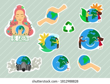 Set of ecology stickers promoting responsible attitude and care for the Earth. Cartoon colorful vector illustration.