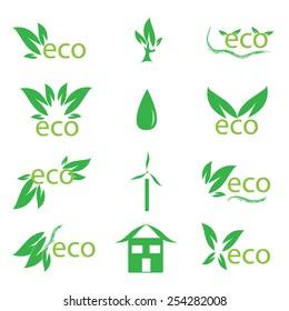 set of ecology symbols, design elements