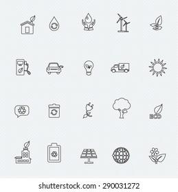 Set of Ecology thin line icons