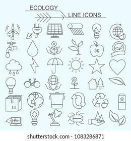 Set ecology vector line icons editable stroke