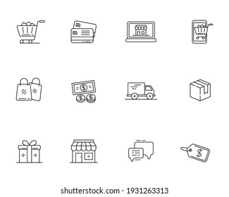 Set of e-commerce icon with linear style isolated on white background