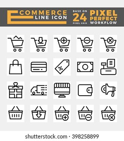 Set of E-commerce and Online Shopping Icons Base on 24 Pixel Grids. This icons created on pixel perfect workflow. Vector illustration