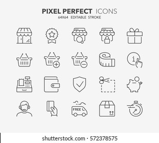 Set of e-commerce and shopping thin line icons. Contains icons as shopping online, shopping basket, fast delivery, payment options, info and more. Editable stroke. 64x64 Pixel Perfect.