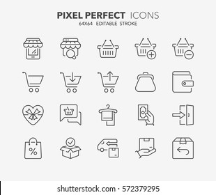 Set of e-commerce and shopping thin line icons. Contains icons as mobile shop, shopping cart, testimonials, shipping and delivery, fashion and more. Editable stroke. 64x64 Pixel Perfect.