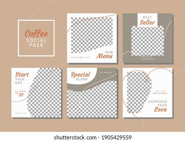 Set of editable clean and simple square banner template for social media. Coffee shop theme.