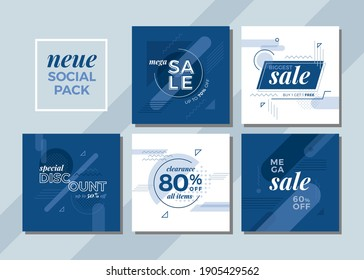 Set of editable clean and simple square banner template for social media. Blue geometric theme
