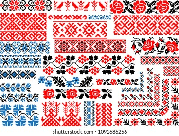 Set of editable colorful seamless ethnic patterns for embroidery stitch. Borders and frames