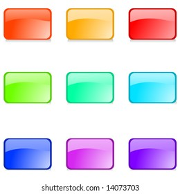 Set of editable glossy web buttons on white background