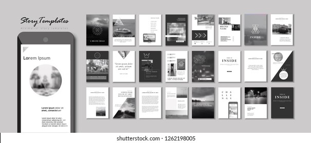 Set of Editable Instagram Original Story Templates. Pack of fashion flyers. Business presentation
