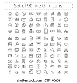 Set of editable line icons. Icons for business, commerce, school, transport, e.t.c Set of 90 icons