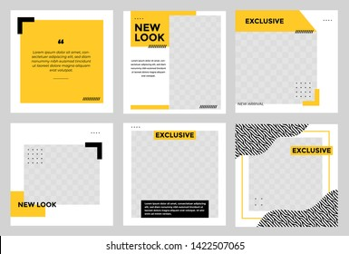 Set of Editable minimal square banner template. Black and yellow background color with stripe line shape. Suitable for social media post and web/internet ads. Vector illustration with photo college
