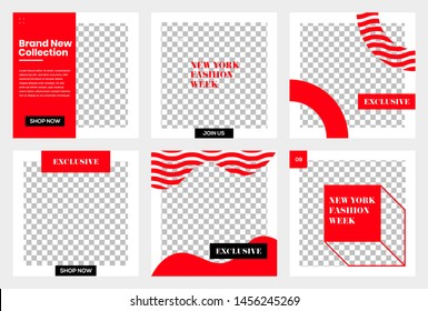 Set of Editable minimal square banner template. Black and Red background color. Suitable for social media post and web/internet ads. Vector illustration with photo college
