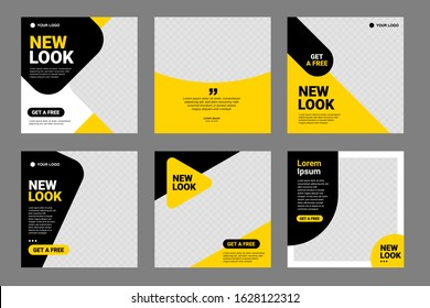 Set of Editable minimal square banner template. Black and yellow background color with stripe line shape. Suitable for social media post and web internet ads. Vector illustration with photo college - Shutterstock ID 1628122312