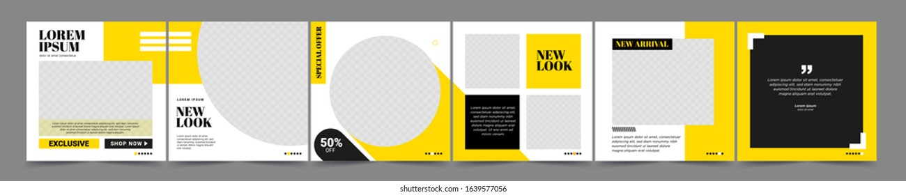 Set of Editable minimal square banner template. Black and yellow background color with stripe line shape. Suitable for social media post and web internet ads. Vector illustration with photo college - Shutterstock ID 1639577056