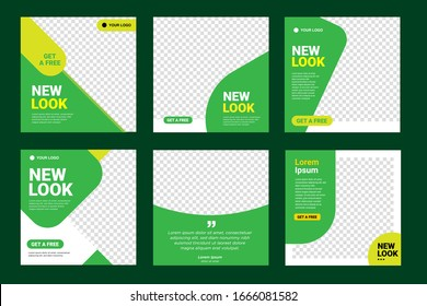 Set of Editable minimal square banner template. green color background with stripe line shape. Suitable for social media post, healthy and web internet ads. Vector illustration with photo college
