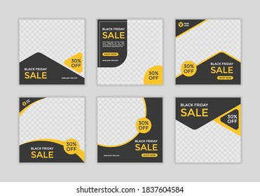 Set of Editable minimal square banner template. Black and yellow background color with shape. Suitable for social media post and web ads. - Shutterstock ID 1837604584