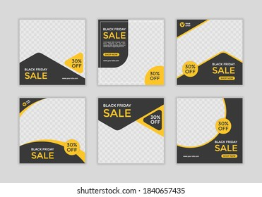 Set of Editable minimal square banner template. Black and yellow background color with shape. Suitable for social media post and web ads. - Shutterstock ID 1840657435