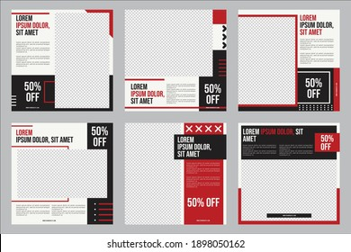 Set of Editable minimal square banner template. Black, white and red background color with stripe line shape. Suitable for social media post and web internet ads. Vector illustration with photo colleg