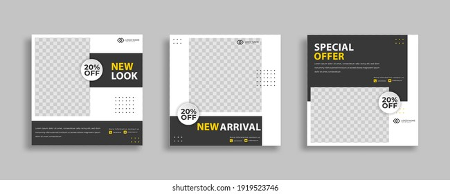 Set of Editable minimal square banner template. Black yellow white background color with geometric shapes for social media post and web internet ads. Vector illustration