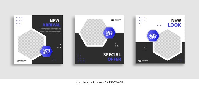 Set of Editable minimal square banner template. Black  white background color with geometric shapes for social media post and web internet ads. Vector illustration