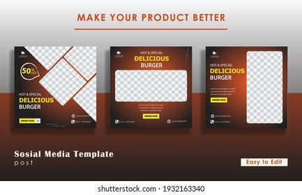 Set of Editable minimal square banner template. Black and red background color with stripe line shape. Suitable for social media post and web internet ads. Vector illustration with photo college