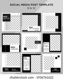 Set of Editable minimal square banner template with Black and White theme. Suitable for social media post and web internet ads. BnW.