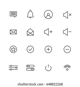 Set of editable notifications icons. Icons in line design for mobile or web interfaces