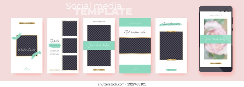 Set of editable social media layouts. Stories vector templates pack for corporate accounts. Spring Collection. Layout for business story (fashion, beauty): new arrival, new collection, sale.