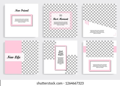 Set of editable social media post template in white and pink background