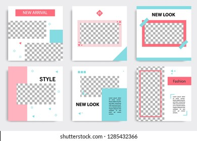 Set of editable social media post template in white, red, pink, turquoise blue background. Using Memphis triangle square pattern