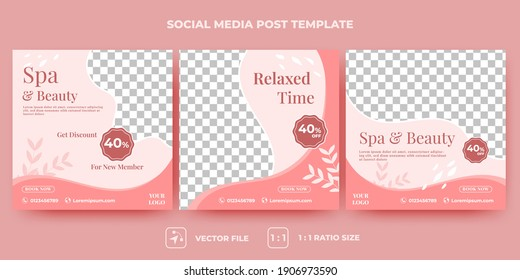Set of Editable spa and beauty square banner template design. Spa, beauty, and massage social media post. Flat design vector with a photo collage. Usable for social media, banner, and web internet ads