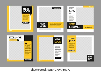 Set of Editable square banner template. Black and yellow background color with stripe line shape. Suitable for social media post, quotes and web internet ads. Vector illustration with photo college