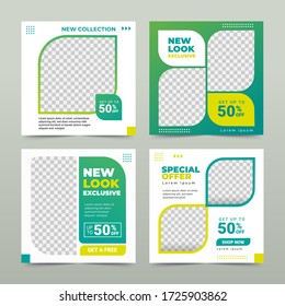 Set of Editable square banner template. green nature background color with stripe line shape. Suitable for social media post promotion and web mobile ads. Vector illustration with photo college