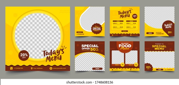 Set of Editable square banner template design for food post on instagram. Suitable for Social Media Post restaurant and culinary digital Promotion. Red and Yellow background color shape vector.