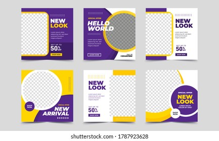 Set of Editable square banner template. purple and yellow background color with stripe line shape. Suitable for social media post, instagram, facebook and web internet ads. Vector illustration