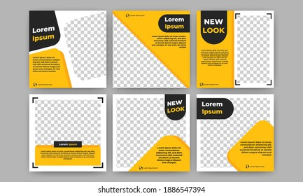 Set of Editable square banner template. Yellow and black background color. Suitable for social media, banners, and internet ads. Flat design vector with photo collage - Shutterstock ID 1886547394