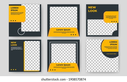 Set of Editable square banner template. Yellow and black background color with circle shape. Suitable for social media post, banners, and internet ads. Flat design vector with photo collage
