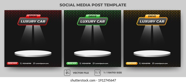 Set of Editable square banner template. Car rental banner with red, green, and orange color. Flat design vector with a stage for place photo. Usable for social media, banners, and web ads.