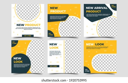 Set of Editable square promotion banner template. Black and yellow color with abstract pattern shape. Usable for social media, flyers, banners, and web ads. Flat design vector with photo collage.