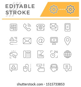 Set editable stroke line icons of contact us
