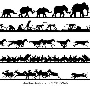 Set of editable vector animal silhouette foregrounds with all figures as separate objects