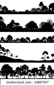 Set of editable vector foregrounds of woodlands