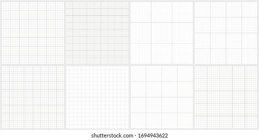 Set of editable vector graph paper pattern on black background. Editable blueprint paper grid lines.