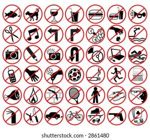 Set of editable vector icons of forbidden activities