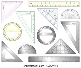 Set of editable vector rulers, set squares and protractors in plastic and metal