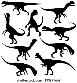 Set of editable vector silhouettes of Dilophosaurus dinosaurs in various poses